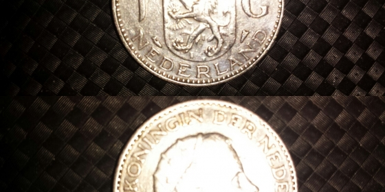 Moneta olandese in argento 1 G del 1956