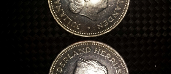 Moneta olandese in argento 10 G del 1970