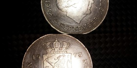 Moneta olandese in argento 10 Gulden del 1973