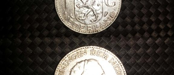 Moneta olandese in argento 1 G del 1955