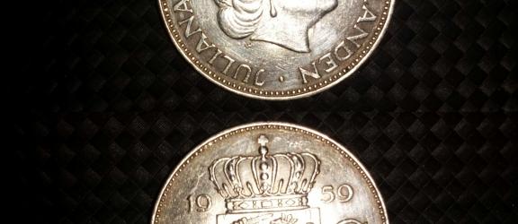 Moneta olandese in argento 2 1/2 G del 1959