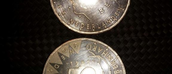 Moneta olandese in argento 50JAAR regina Juliana&Bernhard del 1987
